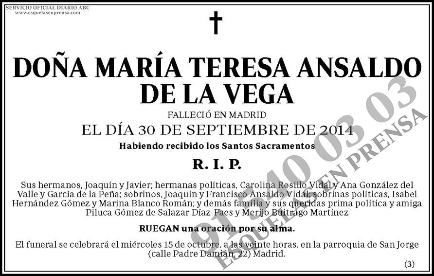 María Teresa Ansaldo de la Vega